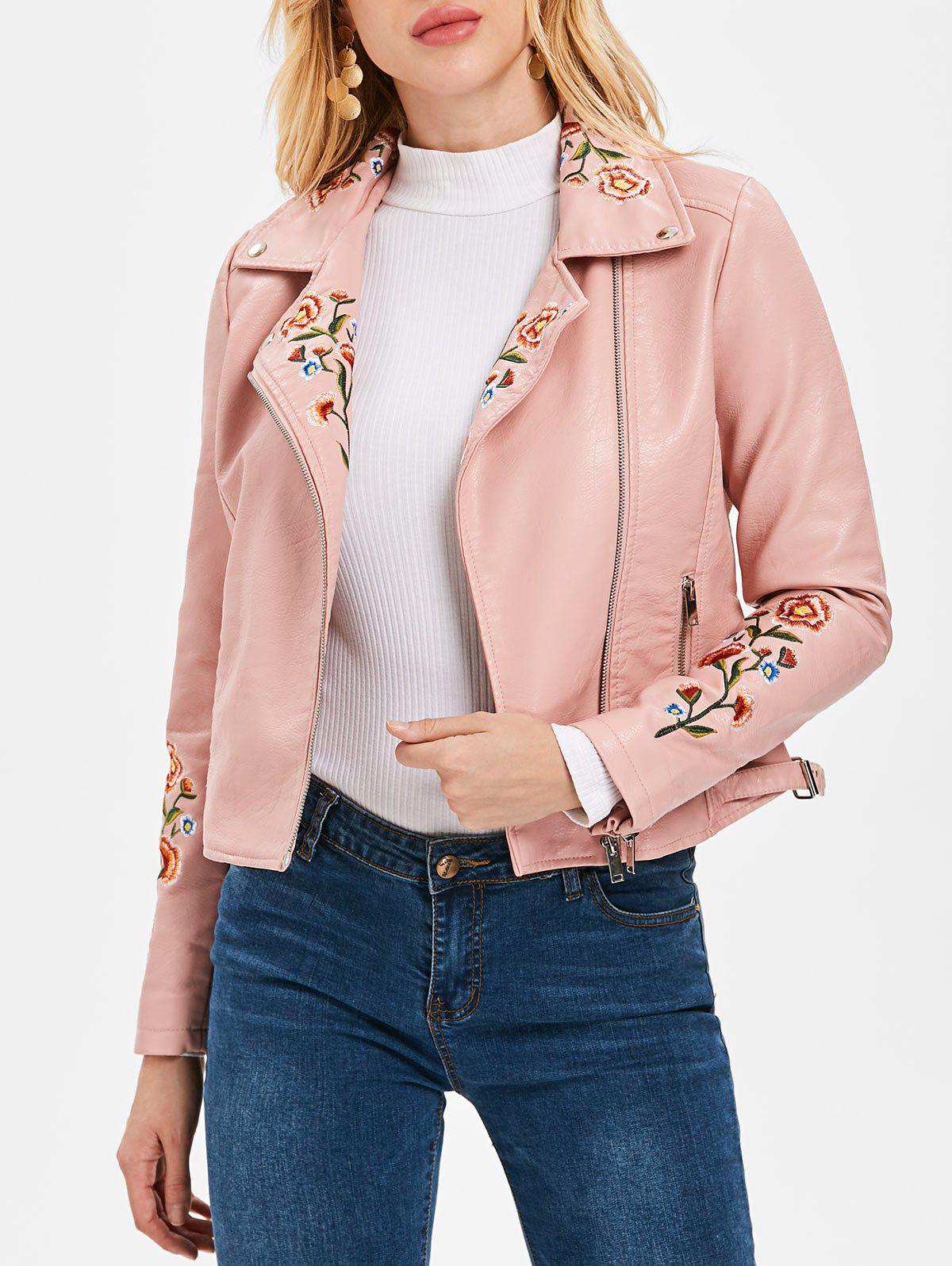 Outfit Embroidered PU Motorcycle Jacket