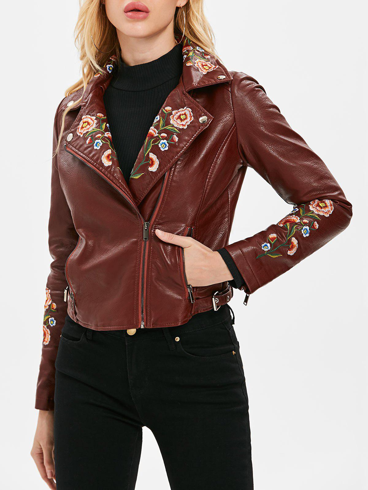 Buy Embroidered PU Motorcycle Jacket