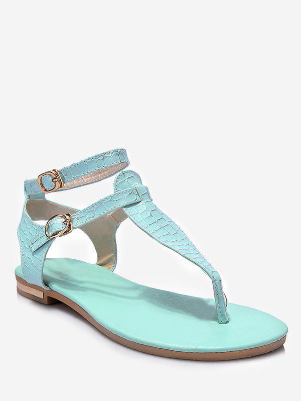 Shops Plus Size Leisure Buckled T Strap Thong Sandals