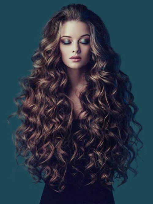 Shops Long Colormix Fluffy Wavy Synthetic Wig