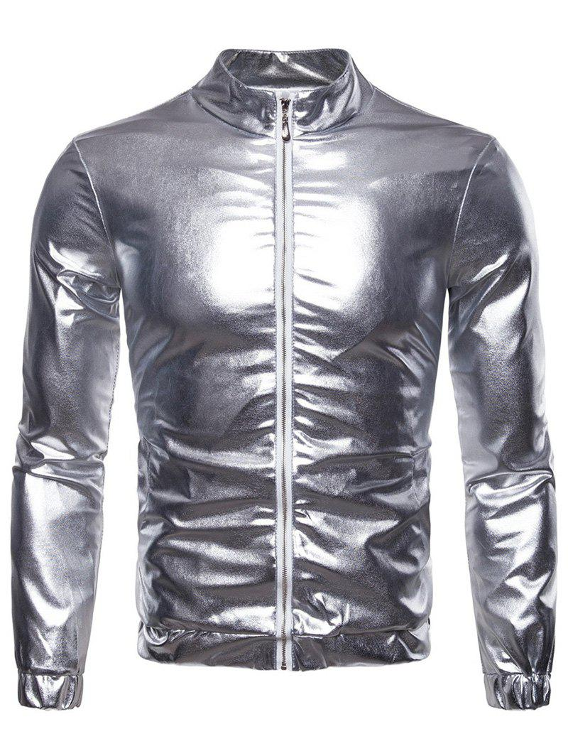 Discount Front Zip Night Club Party Shiny Jacket