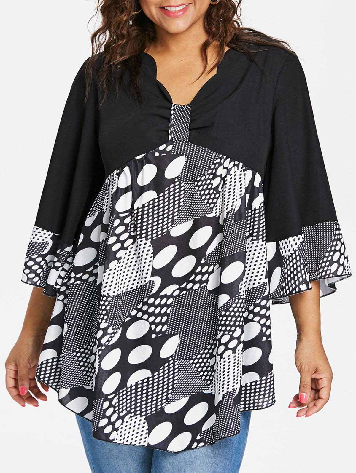 Unique Plus Size Bell Sleeve Polka Dot Blouse