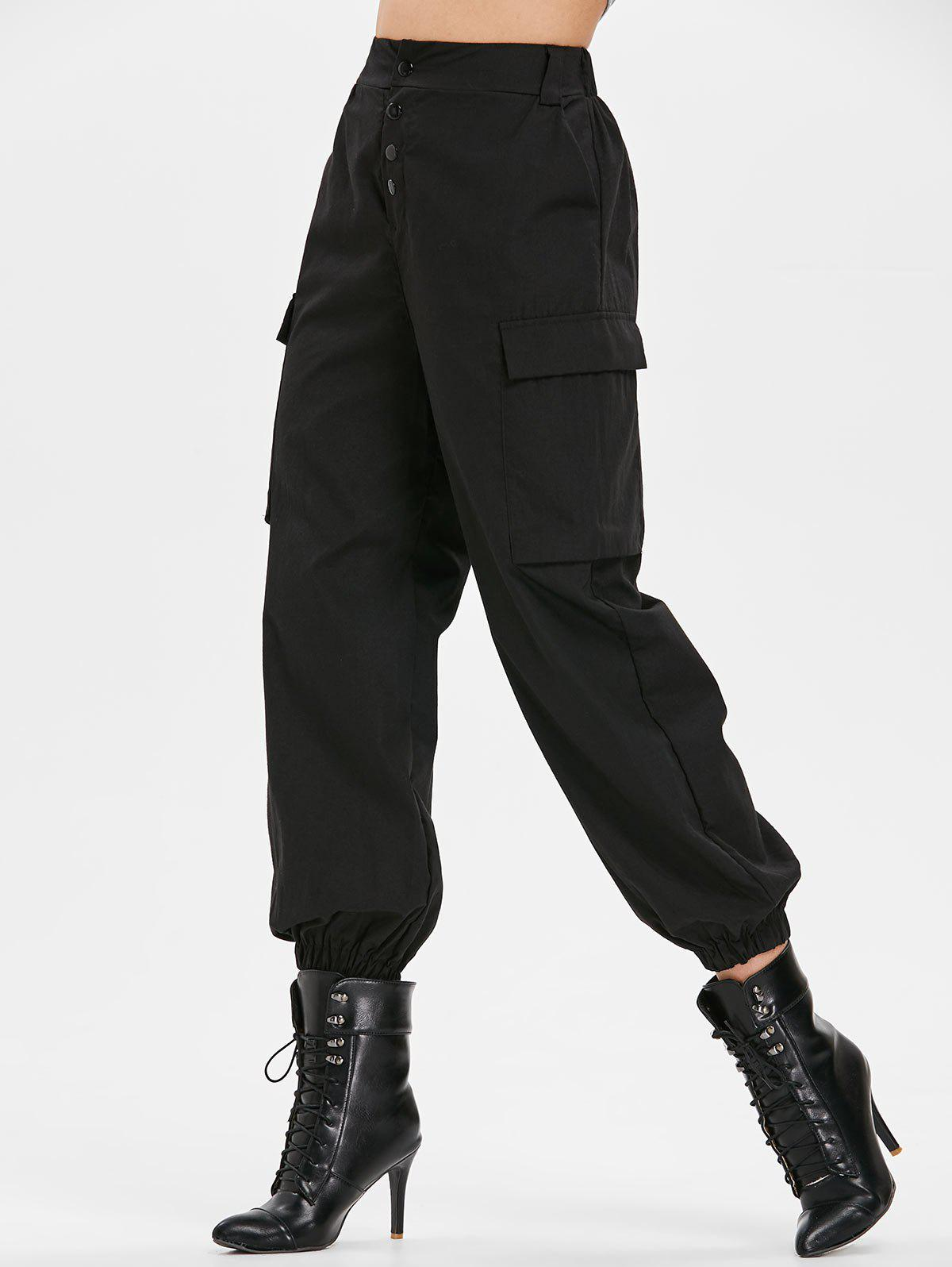 Fancy Side Pockets Elastic Waist Pants