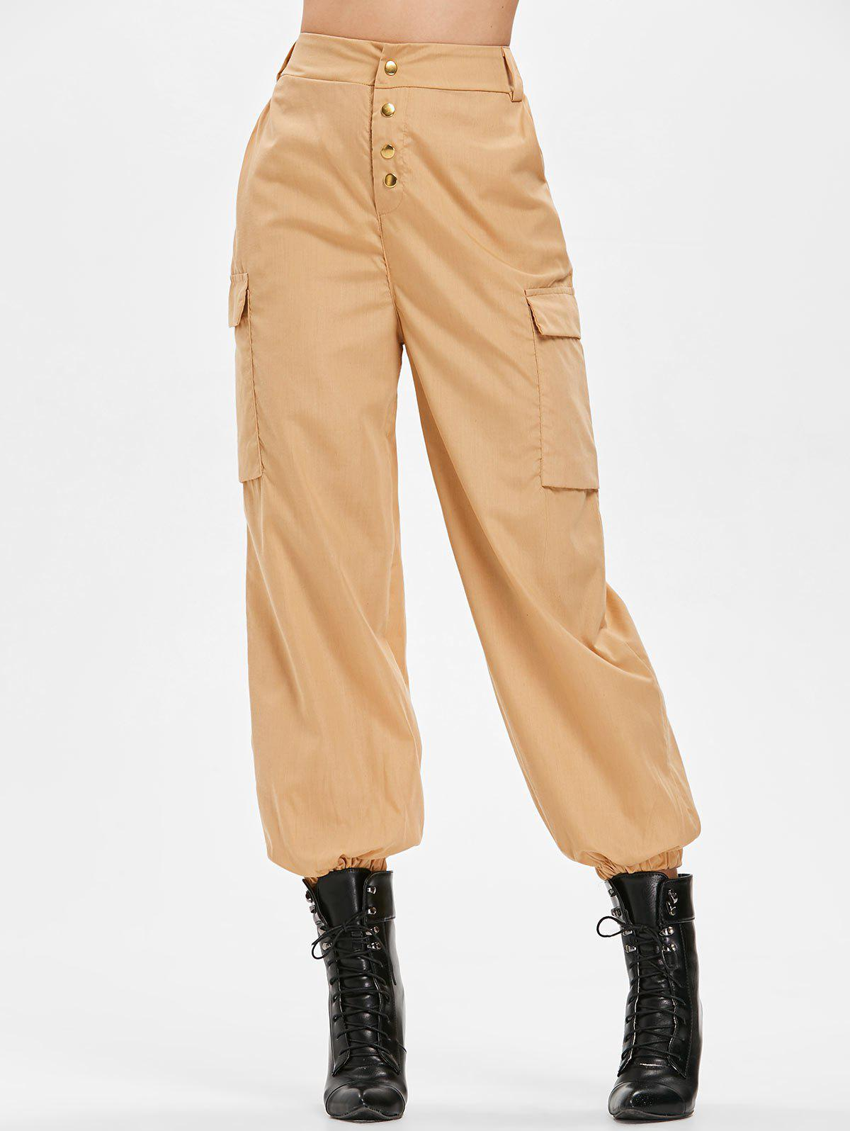 Chic Side Pockets Elastic Waist Pants