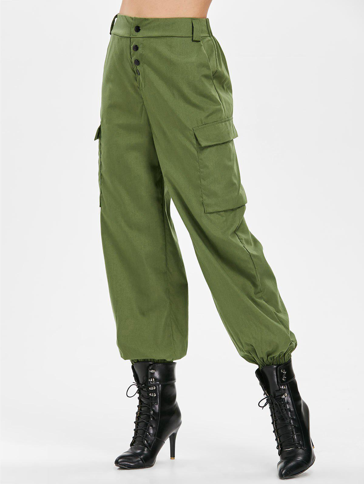 Trendy Side Pockets Elastic Waist Pants
