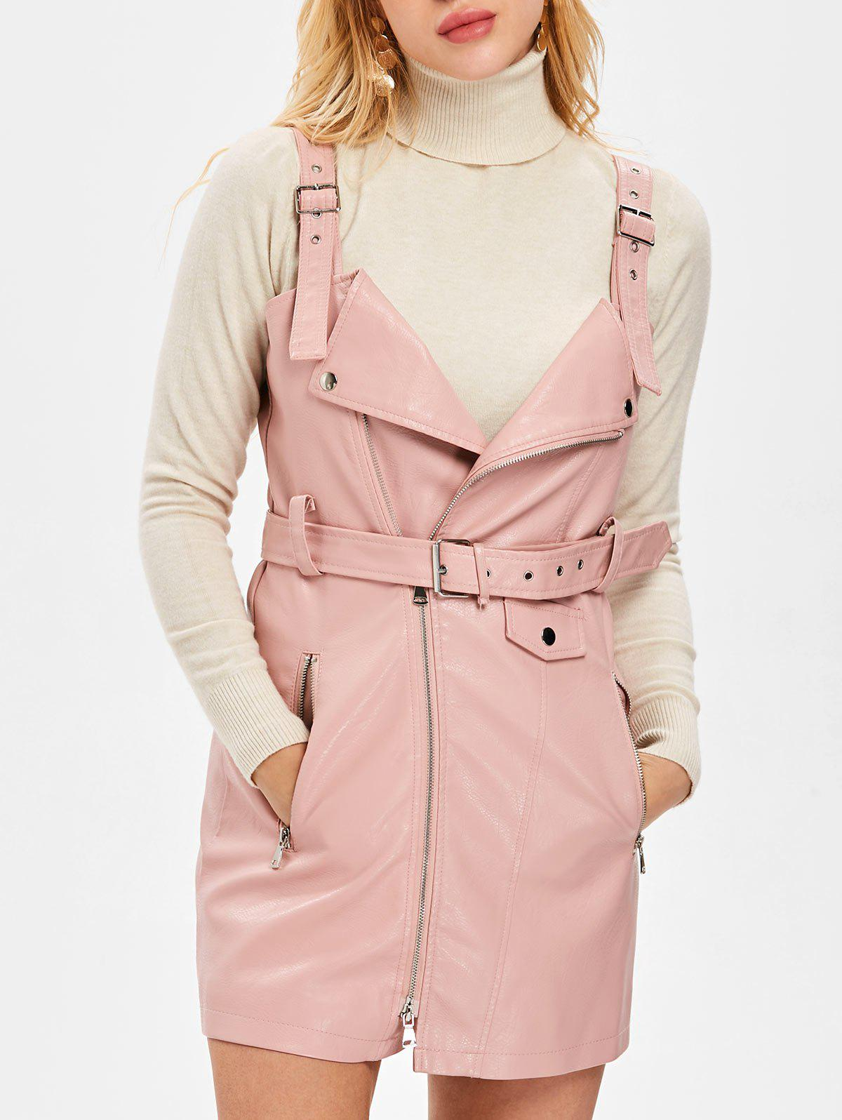 Outfit Faux Leather Pinafore Dress with Belt