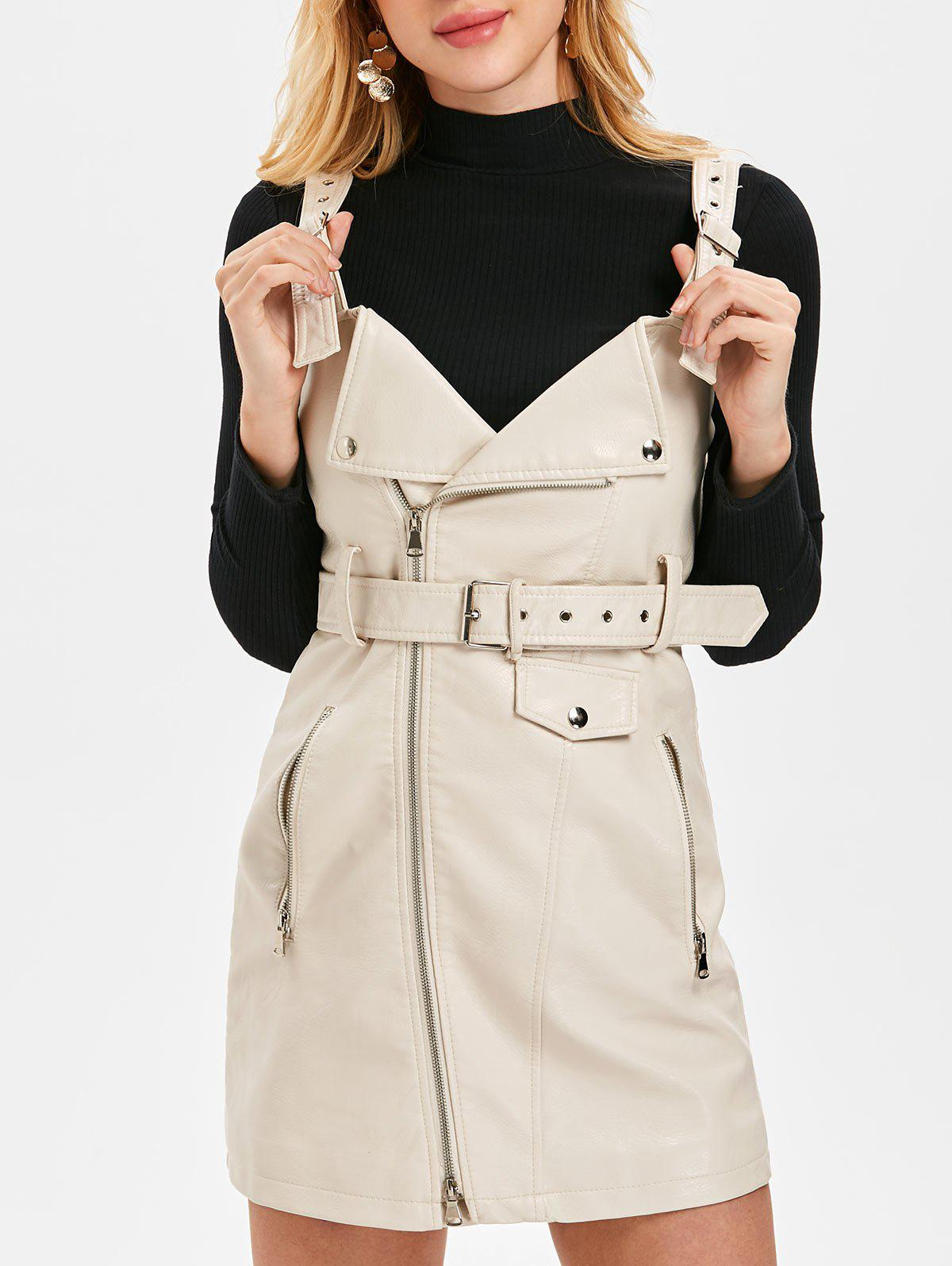 Fashion Faux Leather Pinafore Dress with Belt