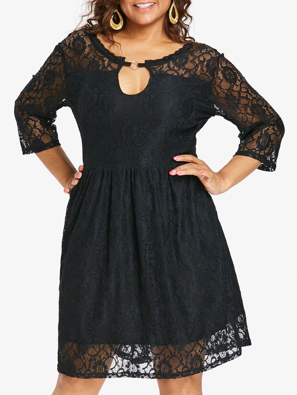 Fashion Plus Size Keyhole Knee Length Lace Dress