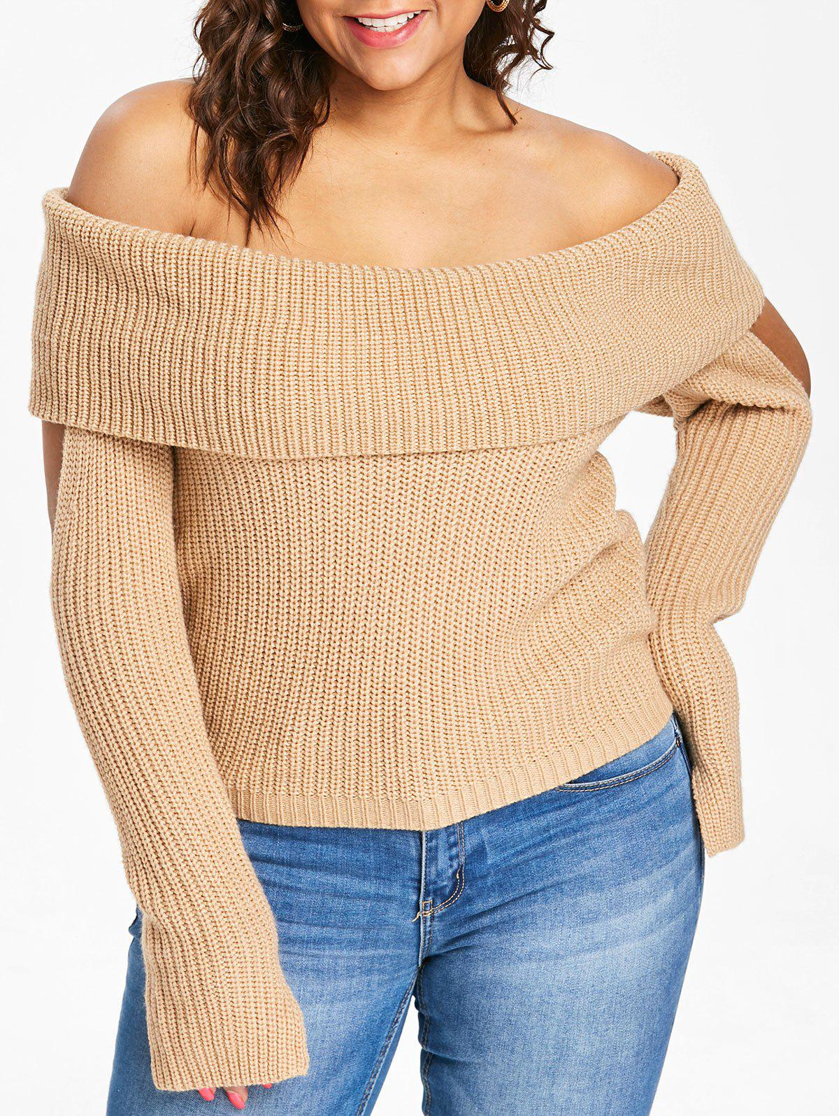Fashion Plus Size Cowl Neck Cold Shoulder Sweater