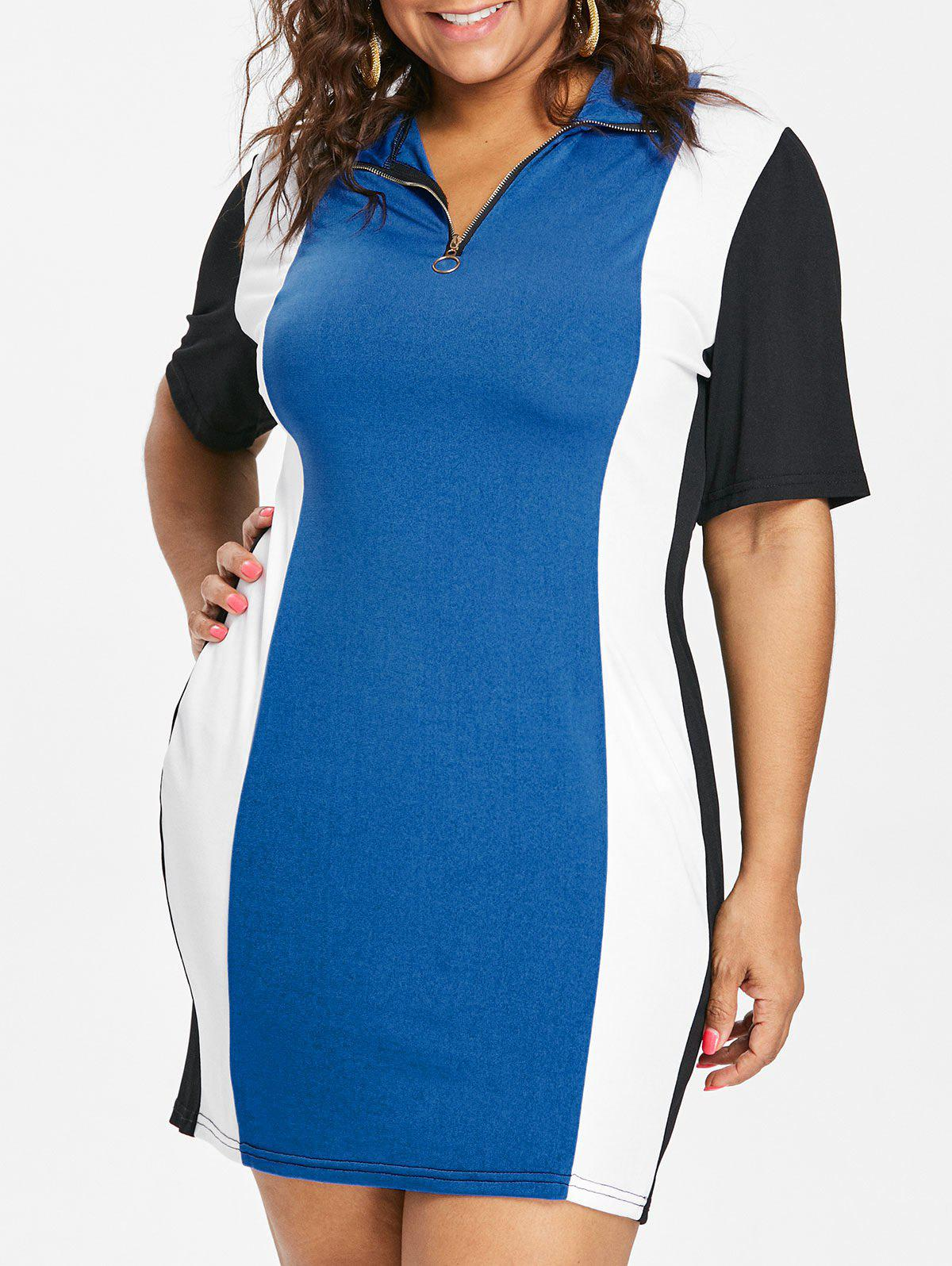 Fashion Color Block Plus Size Zipper Embellished Mini Dress
