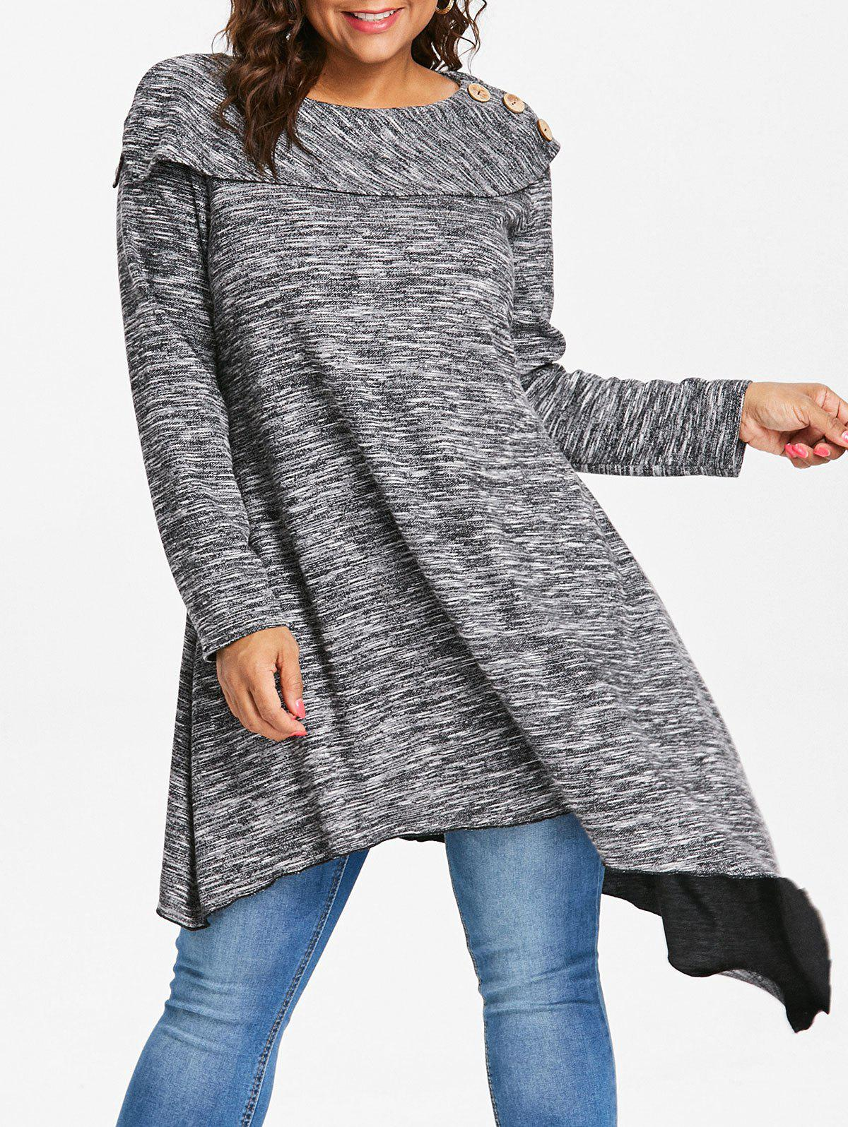 Trendy Space Dye Plus Size Asymmetrical Sweater