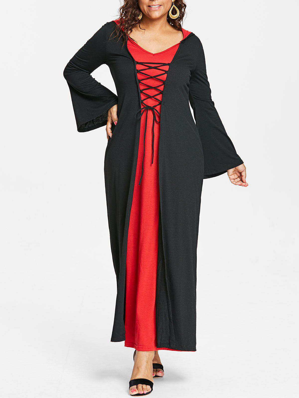 Fashion Plus Size Lace Up Hooded Maxi Dress