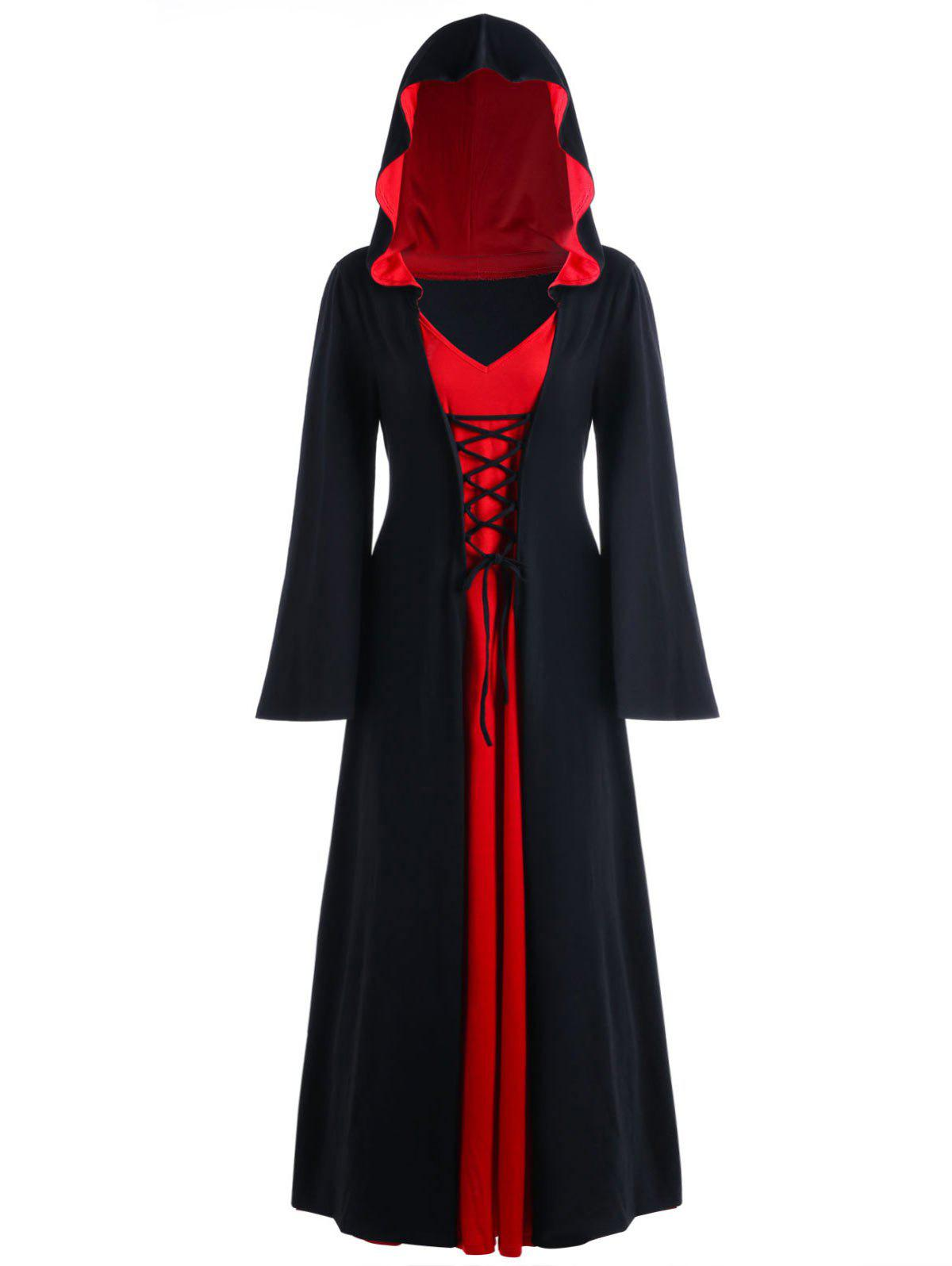 Unique Halloween Plus Size Lace Up Hooded Maxi Dress