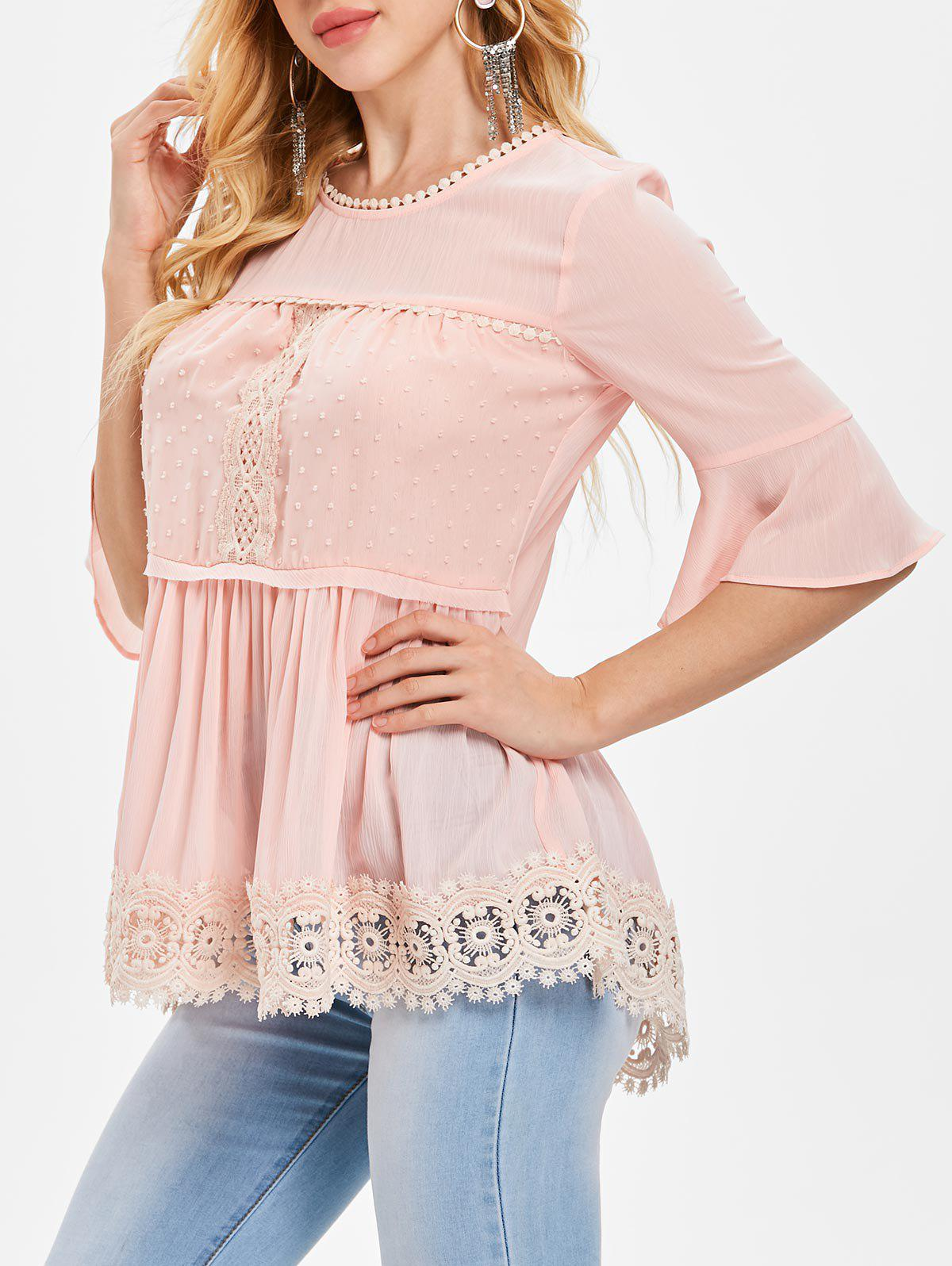 Affordable Flared Sleeve Crochet Lace Blouse