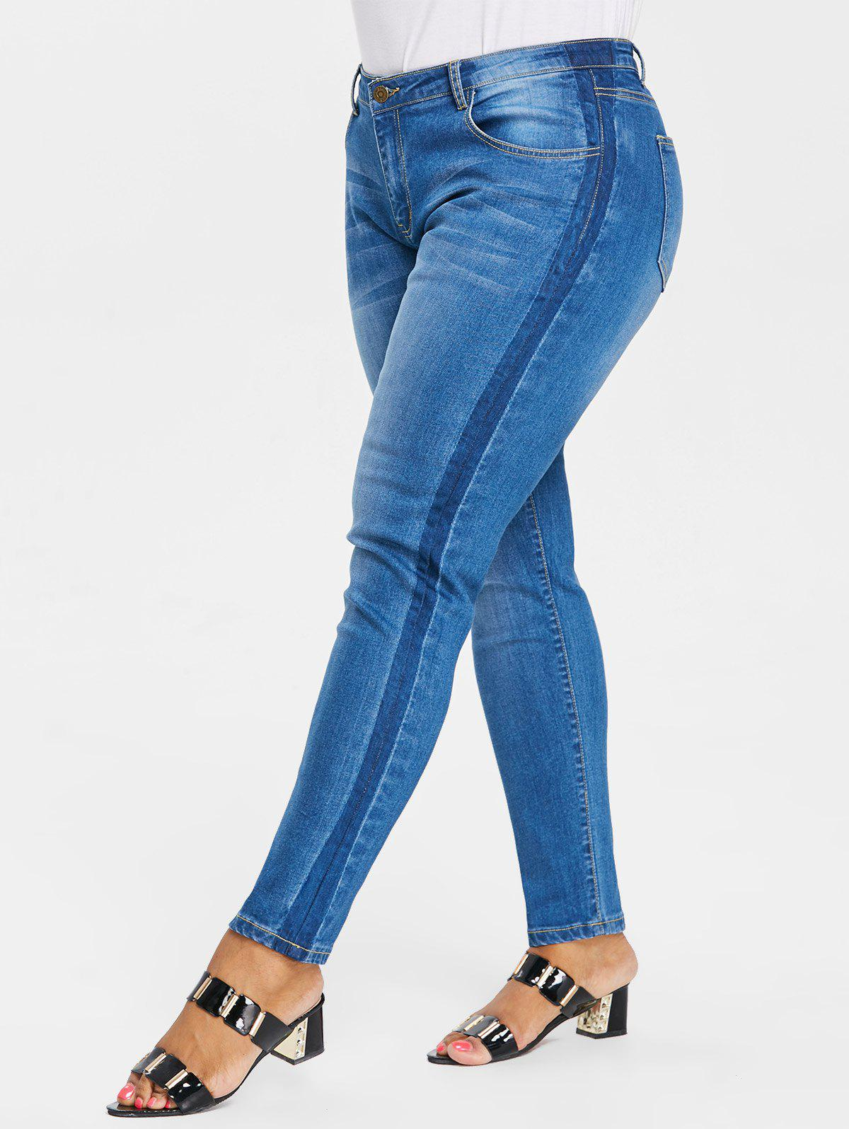 Discount Plus Size Five Pockets Skinny Jeans