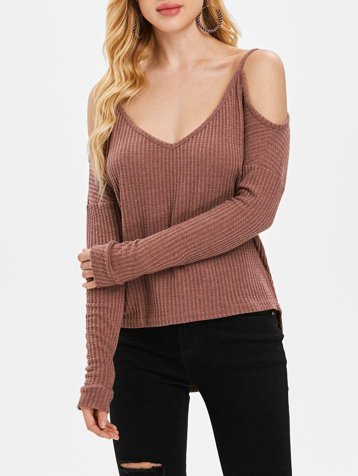 Shop Open Shoulder V Neck Sweater