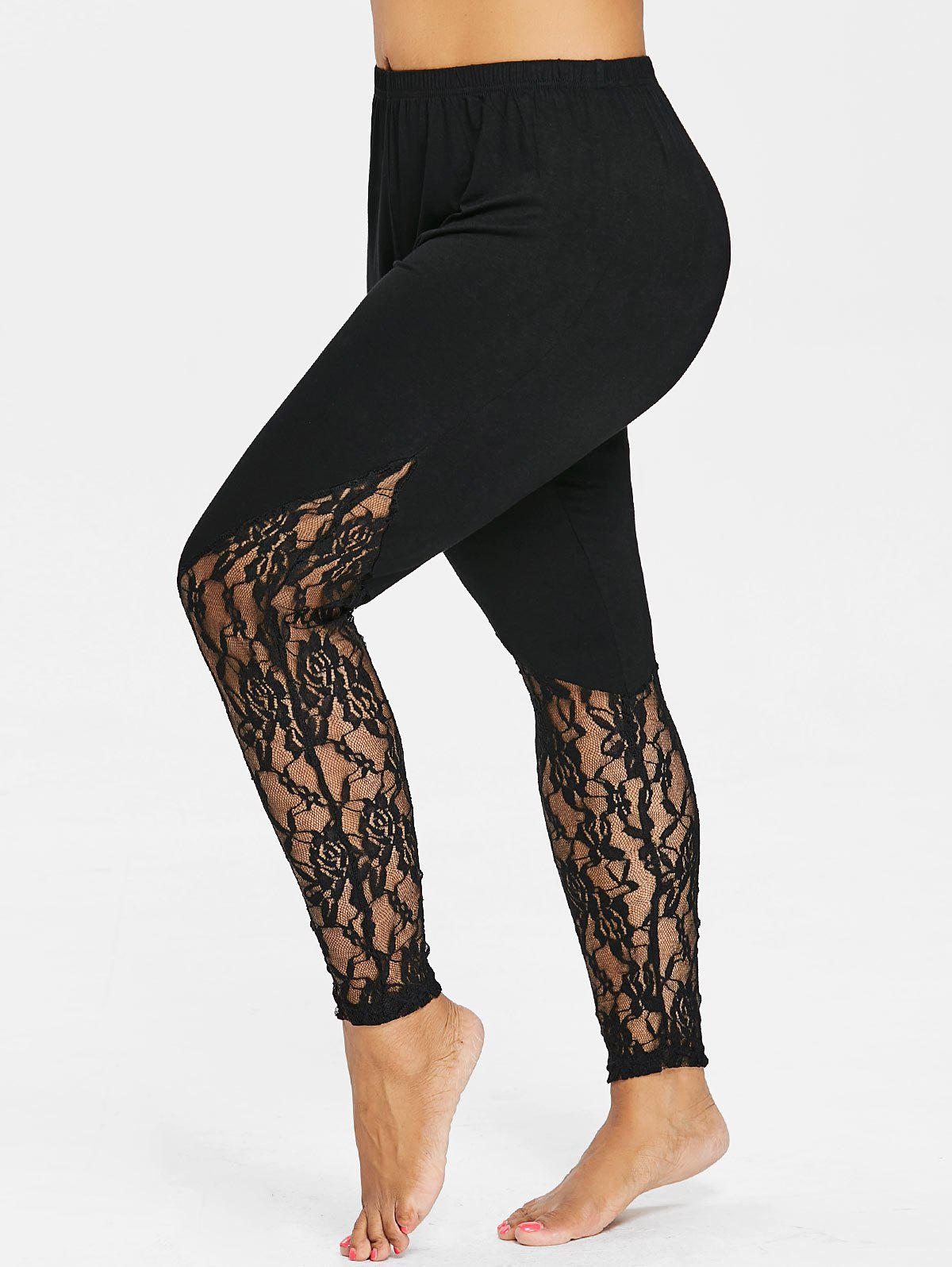 Affordable Plus Size Floral Lace Trim Leggings