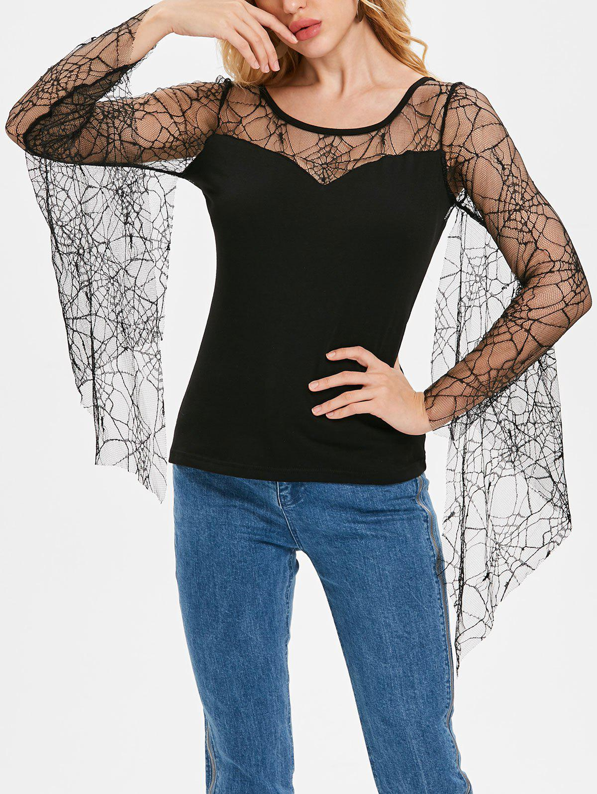 Discount Long Sleeve Strappy Lace T-shirt