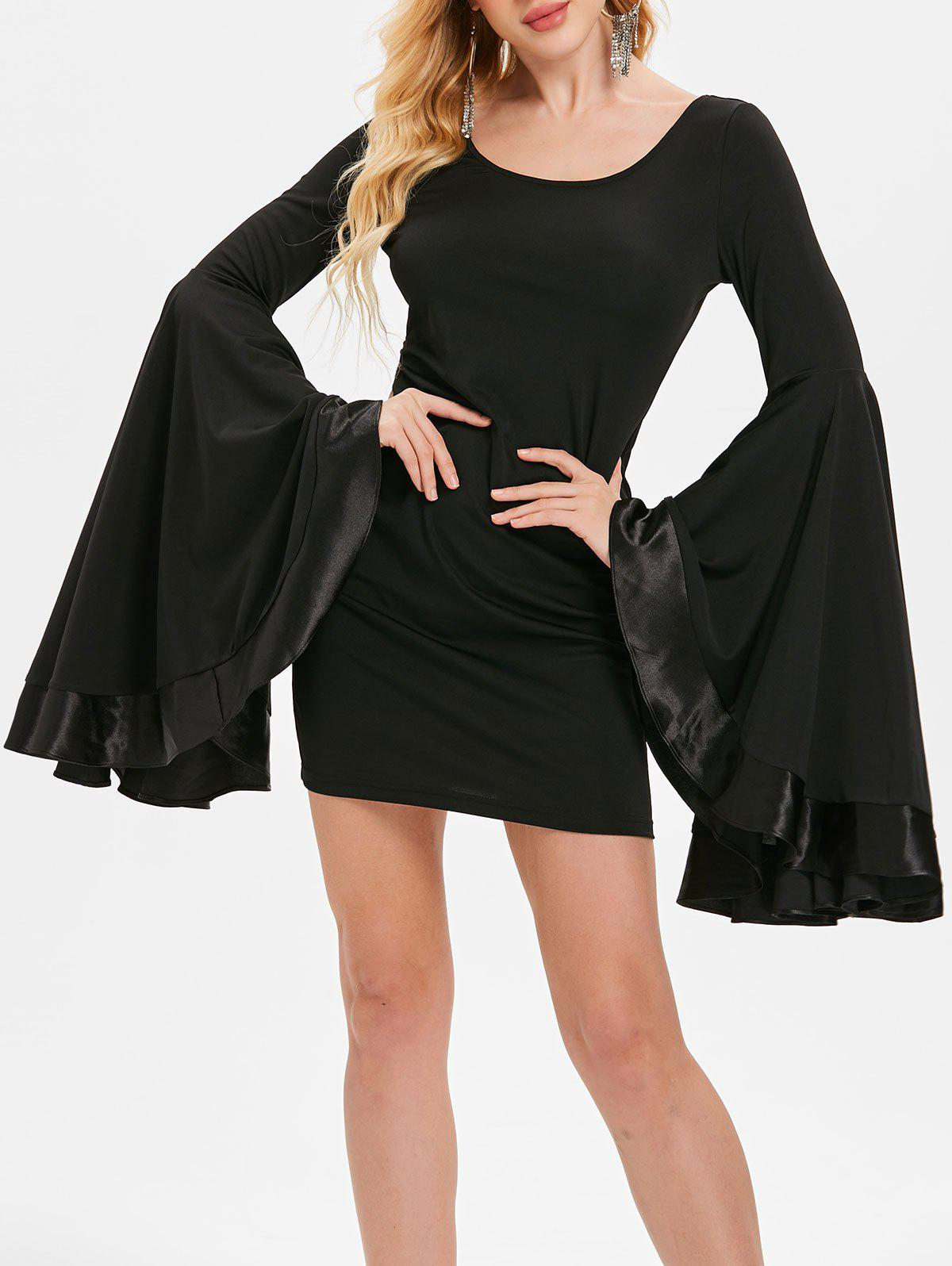 Chic Bell Sleeve Mini Slim Dress