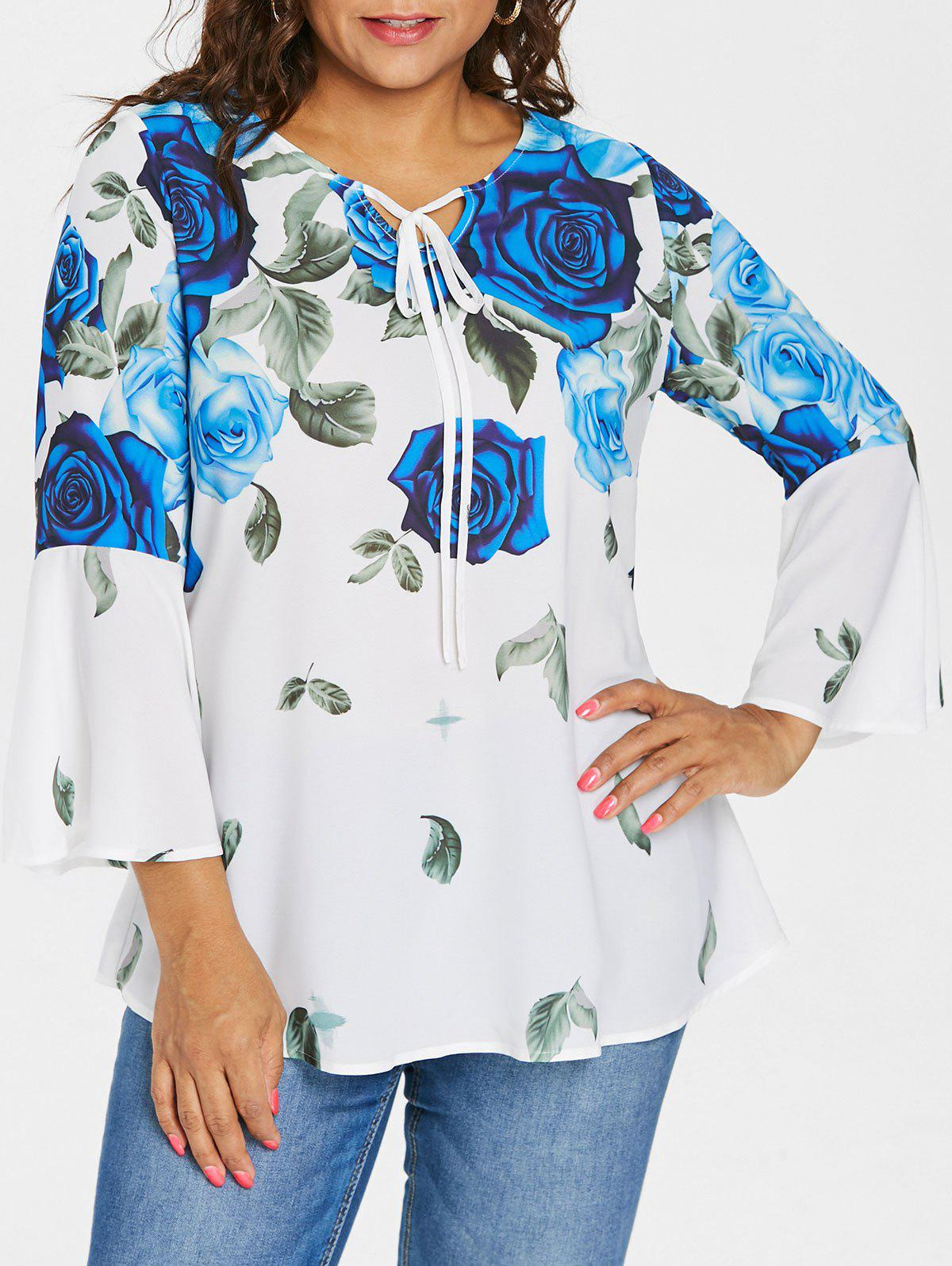 Affordable Plus Size Roses Flared Sleeve Blouse