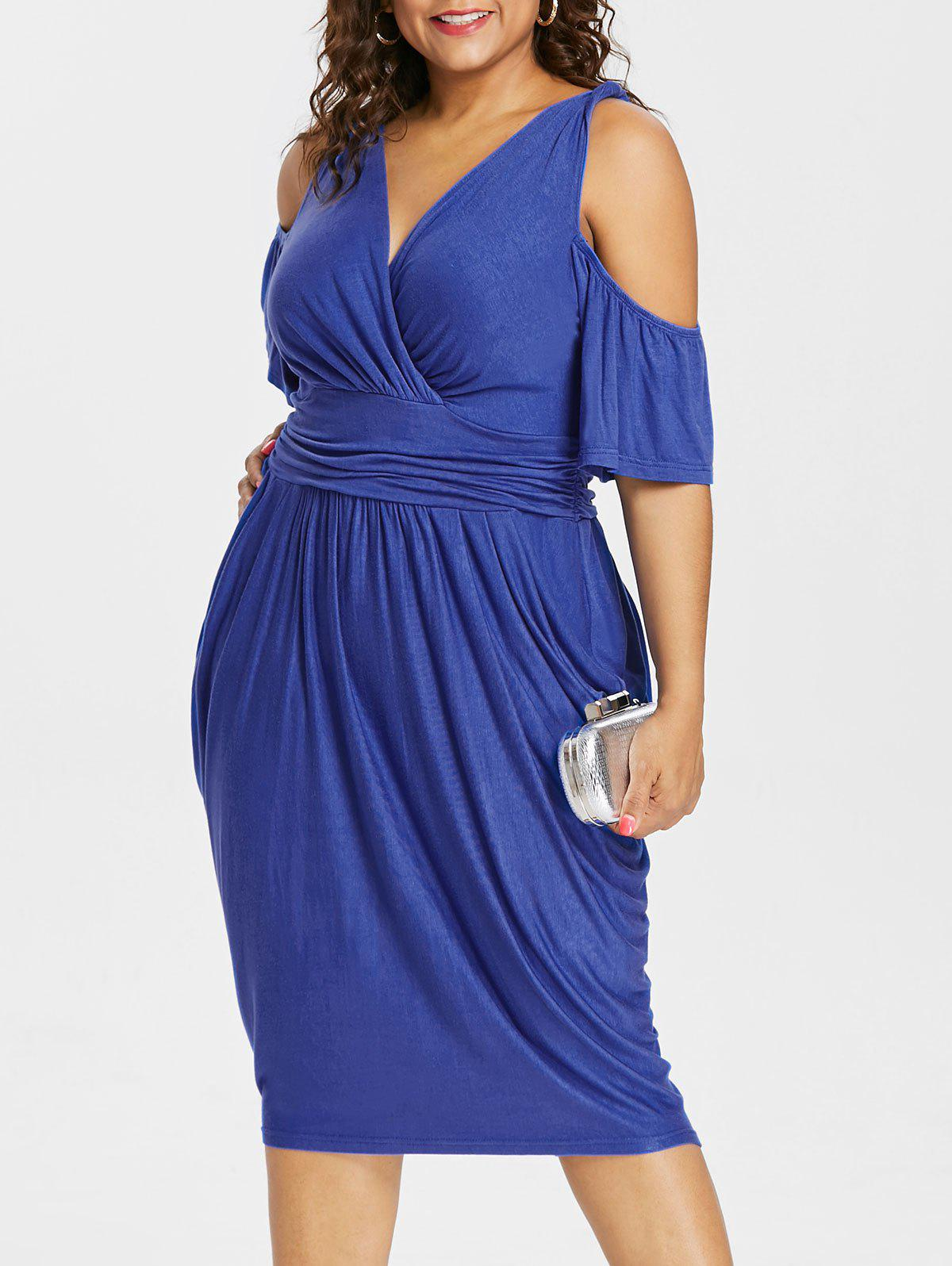 Discount Cold Shoulder Plus Size Empire Waist Knee Length Dress