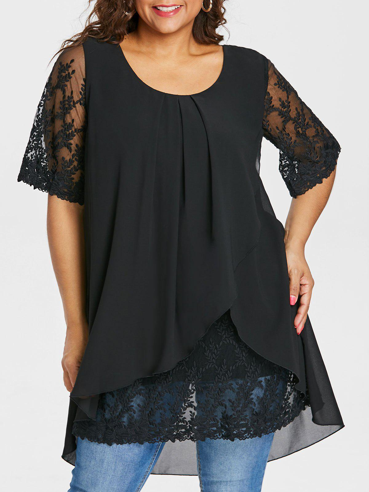 Affordable Plus Size Overlap High Low Hem Blouse