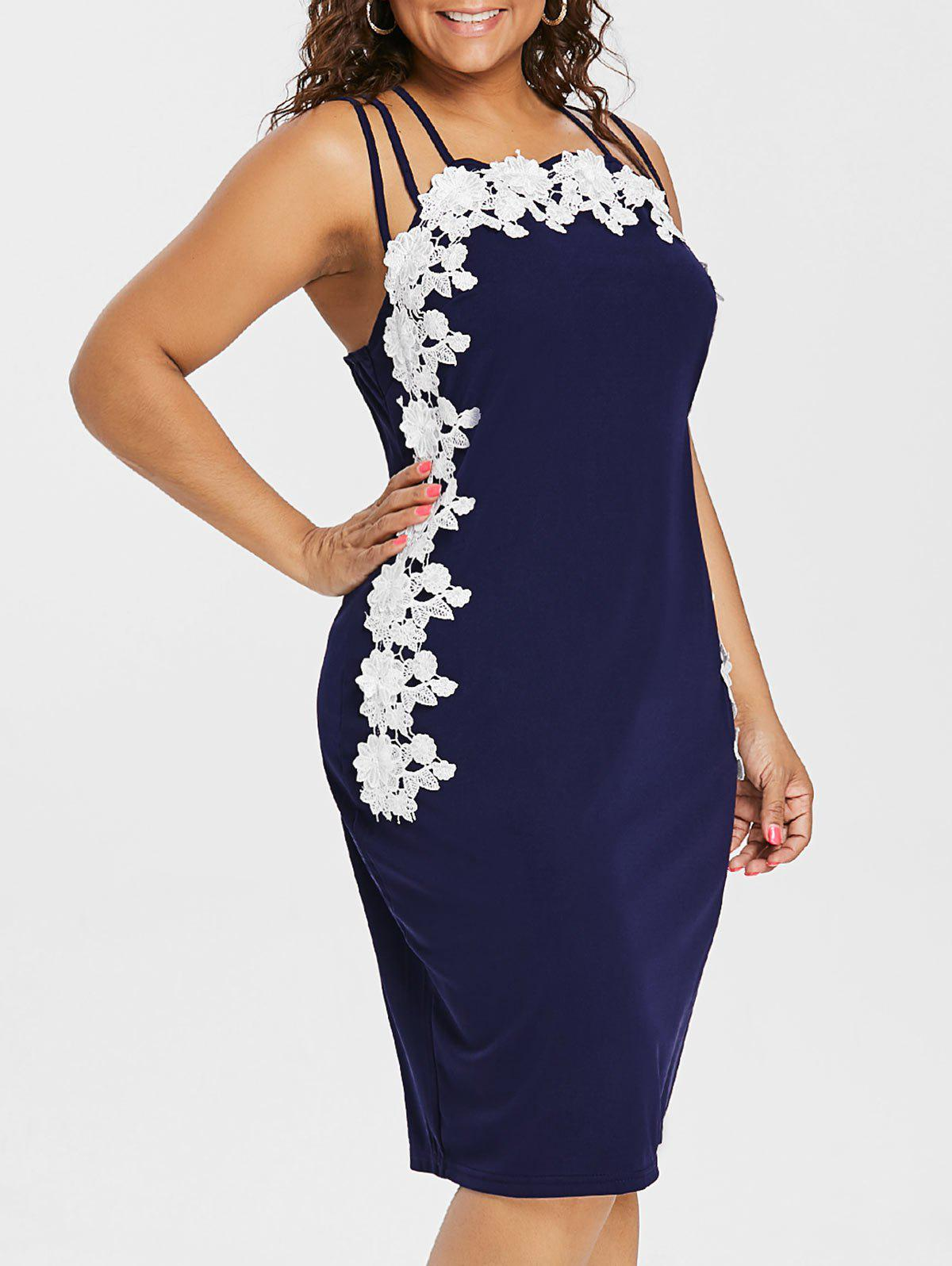 Hot Plus Size Floral Applique Strappy Fitted Dress
