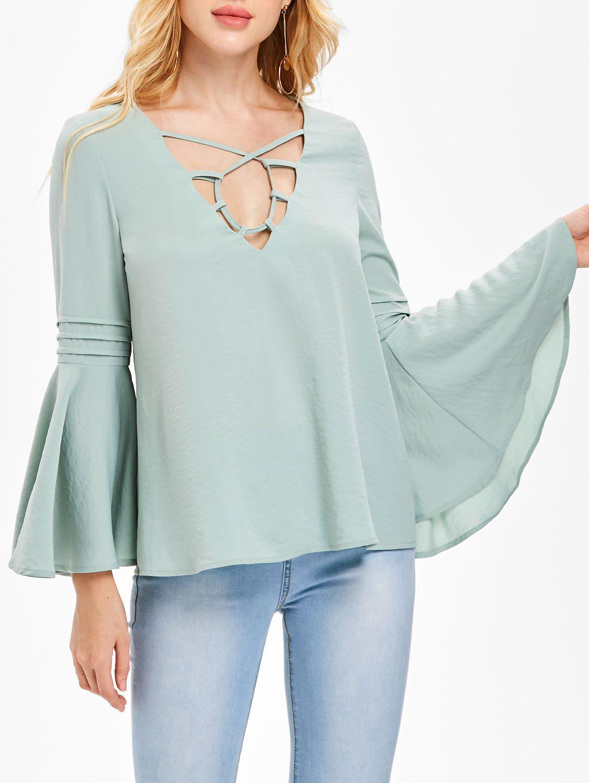 Chic Strappy Flare Sleeve Chiffon Blouse