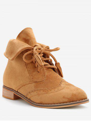 Fold Over Lace Up Wingtip Boots