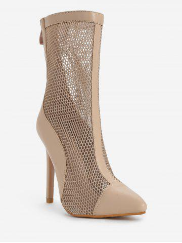 Pointed Toe Hollow Out Mid Calf Boots