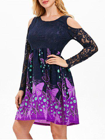 Butterfly Pattern Lace Cold Shoulder Dress - MIDNIGHT BLUE - S