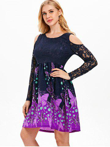 Butterfly Pattern Lace Cold Shoulder Dress