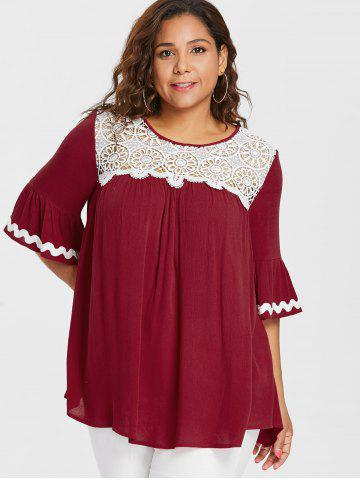 Plus Size Lace Trim Bell Sleeve Blouse