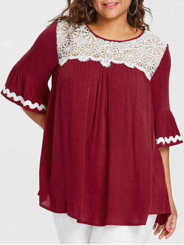 Plus Size Lace Trim Bell Sleeve Blouse - RED - L