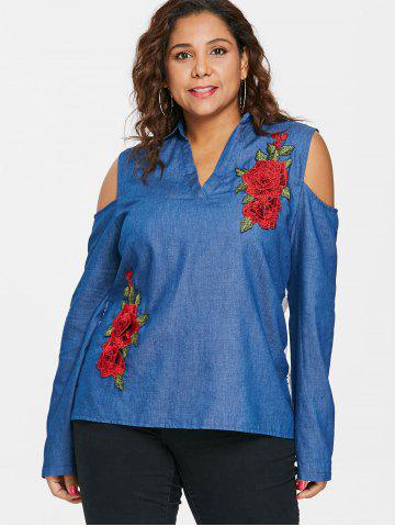 Plus Size Eyelet Cold Shoulder Chambray Top