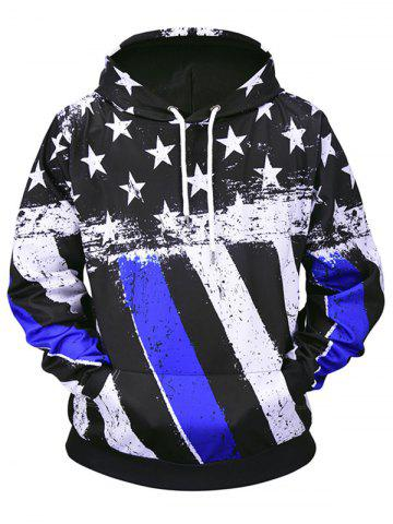 All Over Stars and Stripes Print Pouch Pocket Loose Hoodie