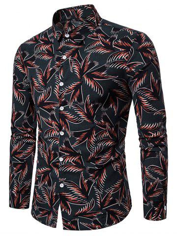 All Over Leaves Print Button Up Casual Shirt