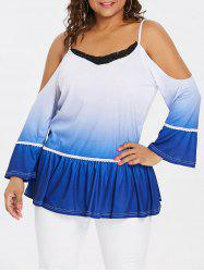 Plus Size Lace Insert Ombre T-shirt -