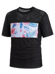 Crew Neck Mesh Floral Print Patch T-shirt -
