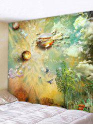 Wall Hanging Art Planets and Cloud Print Tapestry -