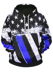 All Over Stars and Stripes Print Pouch Pocket Loose Hoodie -