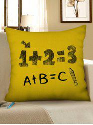 Number Letters Pattern Decorative Linen Pillowcase -