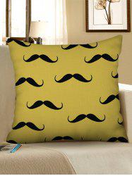 Mustache Printed Decorative Linen Pillowcase -