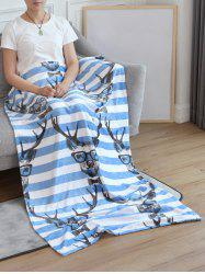Deer Striped Soft Bed Blanket -