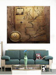 Vintage Map With Compass Pattern Removable Wall Stickers -