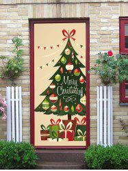 Merry Christmas Tree Print Decorative Door Stickers -