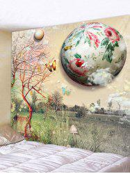 Wall Hanging Art Floral Planet and Butterfly Print Tapestry -