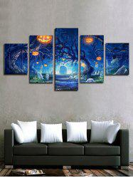 Halloween Pumpkin Tree Print Unframed Split Canvas Paintings -