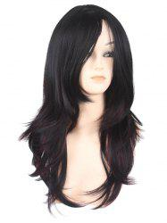 Inclined Bang Long Layer Natural Straight Colormix Synthetic Wig -