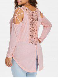 Plus Size Cold Shoulder Back Split T-shirt -
